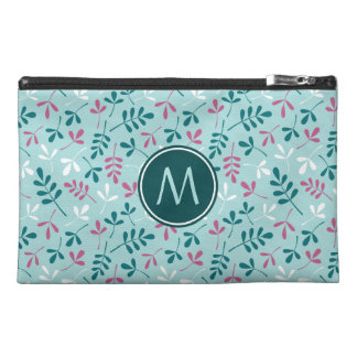Astd Leaves Teals White Pink Rpt Ptn(Personalized) Travel Accessories Bag