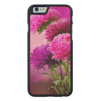 Aster Autumn Flowers Art Design Carved Maple iPhone 6 Slim Case