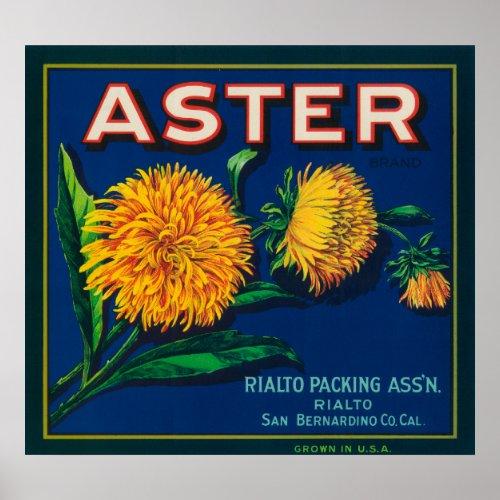 Aster Brand Citrus Crate Label