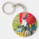 aster Bunny With Cool Car Vintage Floral Basic Round Button Keychain