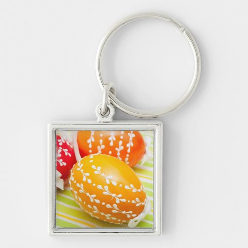 aster eggs Silver-Colored square keychain