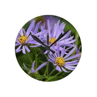 Aster Flower Round Wall Clocks