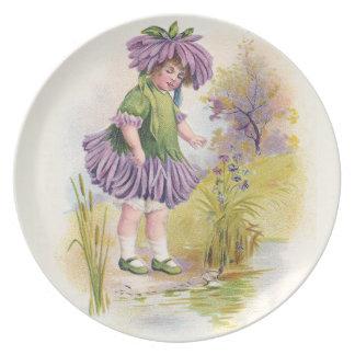 Aster Girl Vintage Flower Variety Melamine Plate