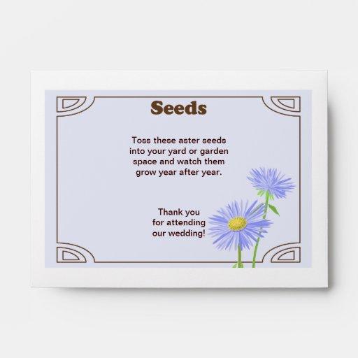 Aster Seed Packet Wedding Favor Envelope