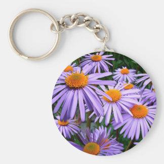 Aster Tongolensis Wartburg Star Purple Flower Keychain