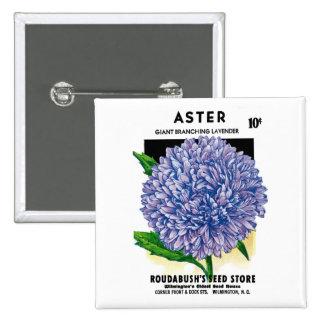 Aster Vintage Seed Packet Button
