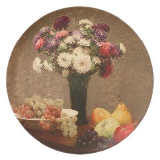 Asteres y fruta de Enrique Fantin-Latour- en una t Plato De Comida
