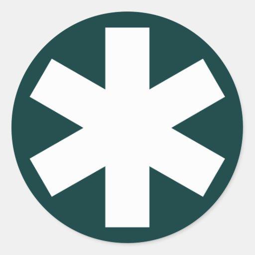 Asterisco - blanco en verde oscuro etiqueta redonda