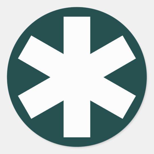 Asterisk - White on Dark Green Classic Round Sticker