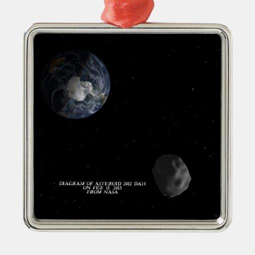 Asteroid 2012 DA14 Passing the Earth Feb. 15, 2013 Metal Ornament