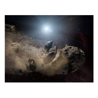 Asteroid bites the dust in space postcards