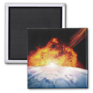 Asteroid Colliding with Earth 2 Inch Square Magnet