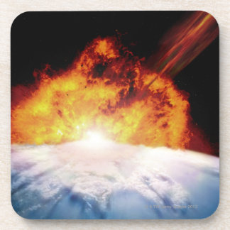 Asteroid Colliding with Earth Beverage Coaster