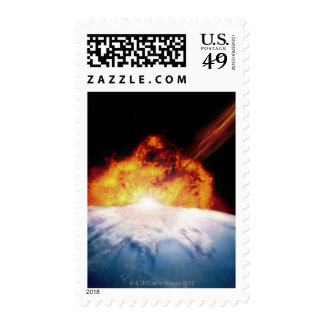 Asteroid Colliding with Earth Postage