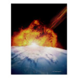 Asteroid Colliding with Earth Posters