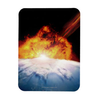 Asteroid Colliding with Earth Rectangular Photo Magnet