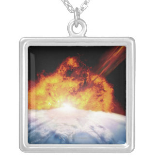 Asteroid Colliding with Earth Silver Plated Necklace