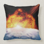 Asteroid Colliding with Earth Throw Pillows