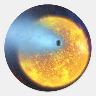 asteroid sun classic round sticker