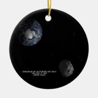 Asteroide 2012 DA14 que pasa tierra el 15 de Adorno Navideño Redondo De Cerámica