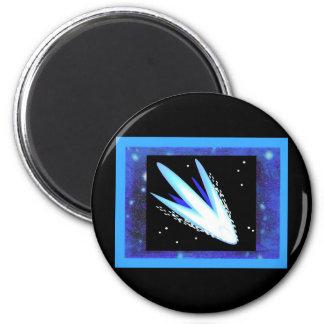 Asteroide con las estrellas azules de medianoche a imán redondo 5 cm