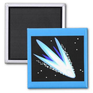 Asteroide en azul cerúleo imán cuadrado