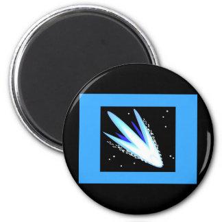 Asteroide en azul cerúleo imán redondo 5 cm