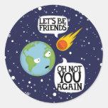 Asteroide otra vez pegatinas redondas