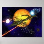 Asteroides de un claro de la nave espacial impresiones