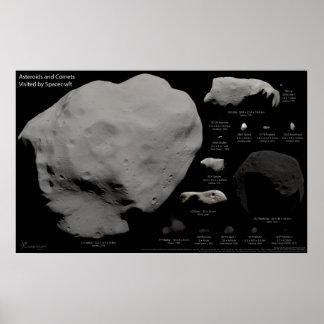 Asteroides y cometas visitados por la nave espacia póster