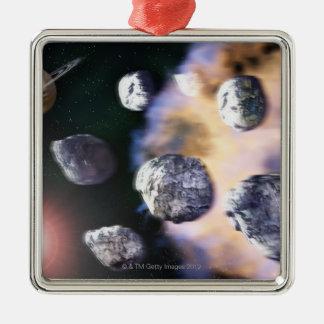 Asteroides y estrella roja por Saturn (digital Adorno Cuadrado Plateado