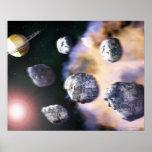 Asteroides y estrella roja por Saturn (digital Póster