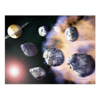 Asteroides y estrella roja por Saturn (digital Postal