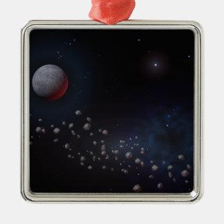 Asteroides y planetas del espacio exterior adorno navideño cuadrado de metal