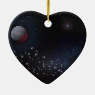 Asteroides y planetas del espacio exterior adorno navideño de cerámica en forma de corazón
