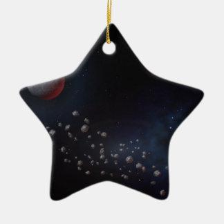 Asteroides y planetas del espacio exterior adorno navideño de cerámica en forma de estrella