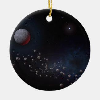 Asteroides y planetas del espacio exterior adorno navideño redondo de cerámica