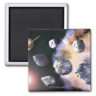 Asteroids and red star by Saturn (digital 2 Inch Square Magnet
