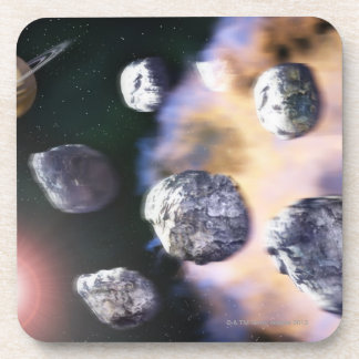 Asteroids and red star by Saturn (digital Beverage Coaster