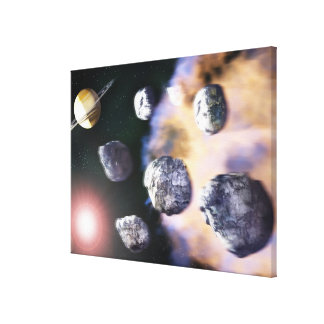 Asteroids and red star by Saturn (digital Canvas Print
