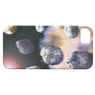 Asteroids and red star by Saturn (digital iPhone SE/5/5s Case