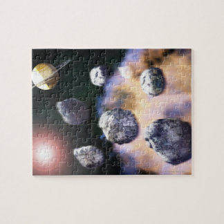 Asteroids and red star by Saturn (digital Jigsaw Puzzle