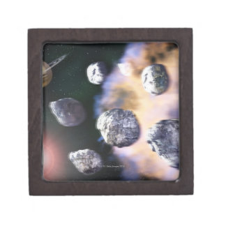 Asteroids and red star by Saturn (digital Keepsake Box