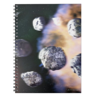Asteroids and red star by Saturn (digital Notebooks