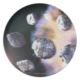 Asteroids and red star by Saturn (digital Plate