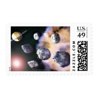 Asteroids and red star by Saturn (digital Postage