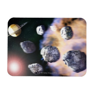 Asteroids and red star by Saturn (digital Rectangular Photo Magnet