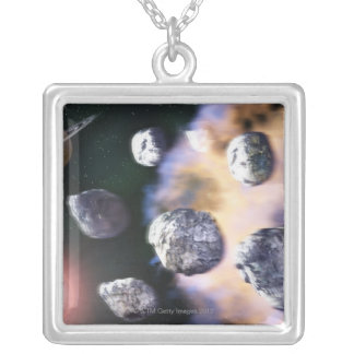 Asteroids and red star by Saturn (digital Silver Plated Necklace