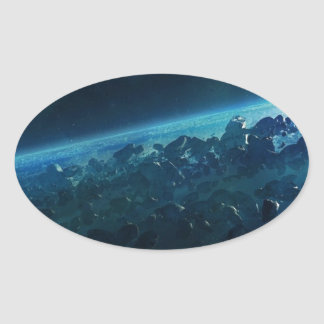 Asteroids Oval Sticker