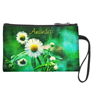 Asters Green Glow Sueded Mini Clutch Bag